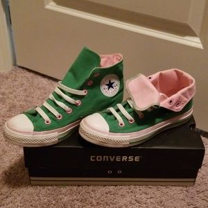 Green and pink converse shoes